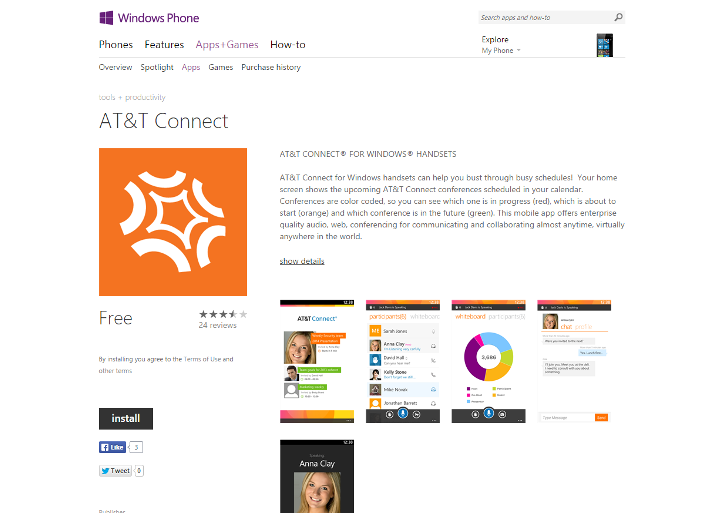 AT&T Connect Windows Phone 8 App